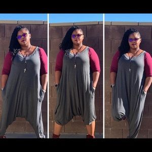 New Plus Size Grey Harem Jumpsuit With Pockets